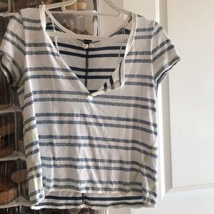 Free People blue and white striped slouchy tee, XS